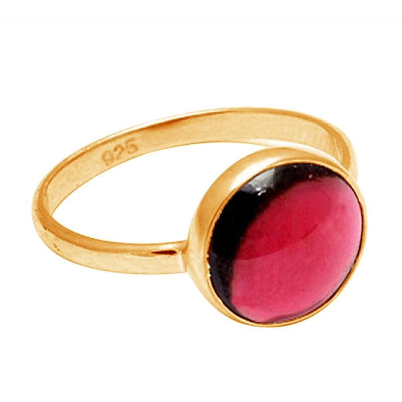 Round Shape Garnet Gemstone 925 Sterling Silver Handcrafted Designer Ring
