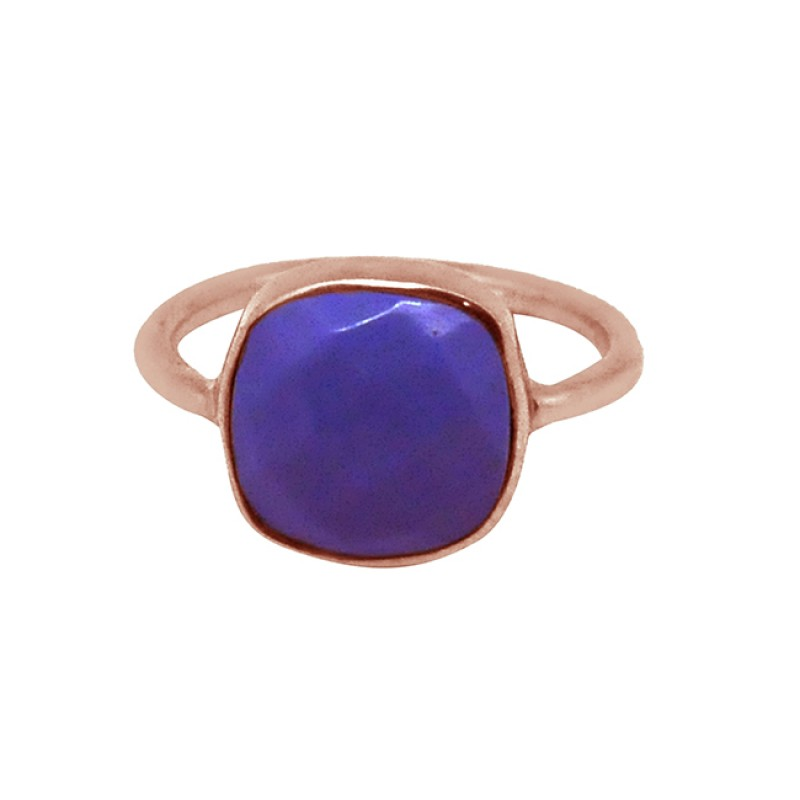 Cushion Shape Blue Chalcedony Gemstone 925 Sterling Silver Gold Plated Ring