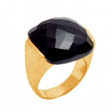 Black Onyx briolette Square Shape 925 Sterling Silver Gold Plated Jewelry Rings