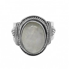 Cabochon Oval Shape Rainbow Moonstone 925 Sterling Silver Black Oxidized Ring Jewelry
