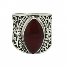 Ruby Marquise Shape Gemstone 925 Sterling Silver Black Oxidized Ring Jewelry