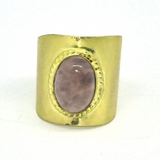 Oval Cabochon Rose Quartz Gemstone 925 Sterling Silver Gold Plated Designer Ring