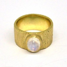 Oval Cabochon Rainbow Moonstone 925 Sterling Silver Gold Plated Ring Jewelry