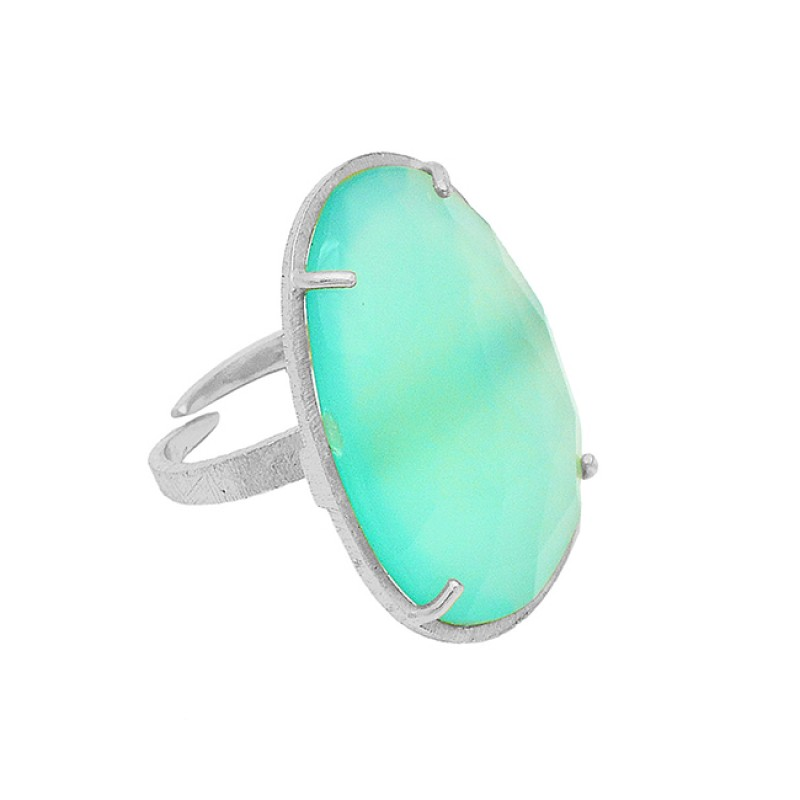 925 Sterling Silver Aqua Chalcedony Gemstone Gold Plated Handmade Ring Jewelry