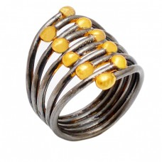 925 Sterling Silver Plain Latest Designer Black Rhodium With Gold Plated Ring Jewelry