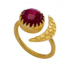 Ruby Round Shape Gemstone 925 Sterling Silver Gold Plated Ring