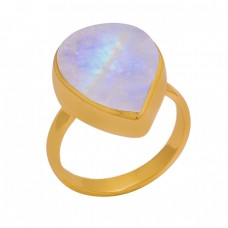 Pear Shape Rainbow Moonstone 925 Sterling Silver Gold Plated Ring