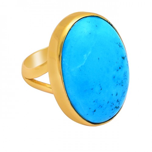 Oval Shape Turquoise Gemstone 925 Sterling Silver Gold Plated Ring