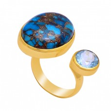 Blue Topaz Copper Turquoise Gemstone 925 Sterling Silver Gold Plated Ring