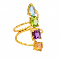 Blue Topaz Peridot Amethyst Citrine Gemstone 925 Silver Gold Plated Ring