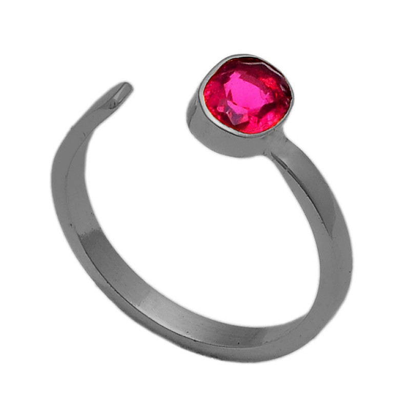 Oval Shape Pink Quartz Gemstone 925 Sterling Silver Gold Plated Ring