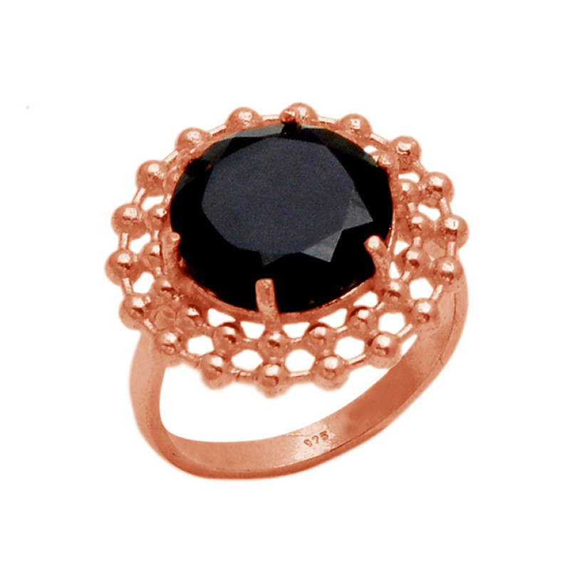 Round Black Onyx Gemstone Handmade Prong Setting 925 Sterling Silver Gold Plated Ring