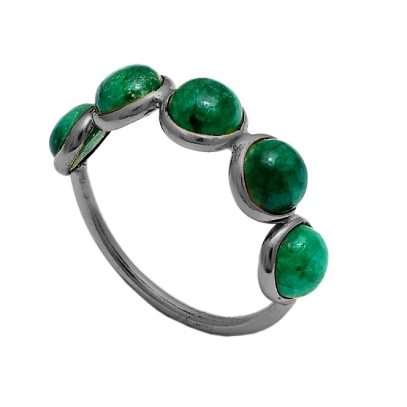 Round Cabochon Emerald Gemstone 925 Sterling Silver Gold Plated Ring