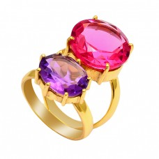 Pink Quartz Amethyst Gemstone 925 Sterling Silver Gold Plated Ring
