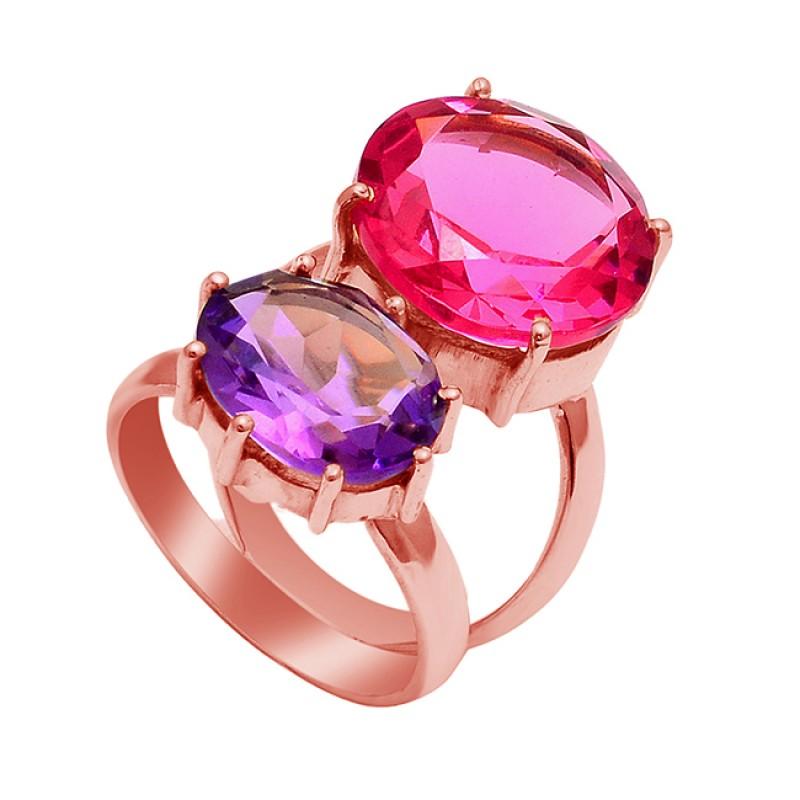Pink Quartz Amethyst Gemstone 925 Sterling Silver Gold Plated Ring