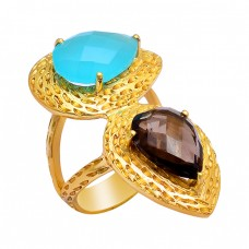Aqua Chalcedony Smoky Quartz Gemstone 925 Sterling Silver Gold Plated Ring