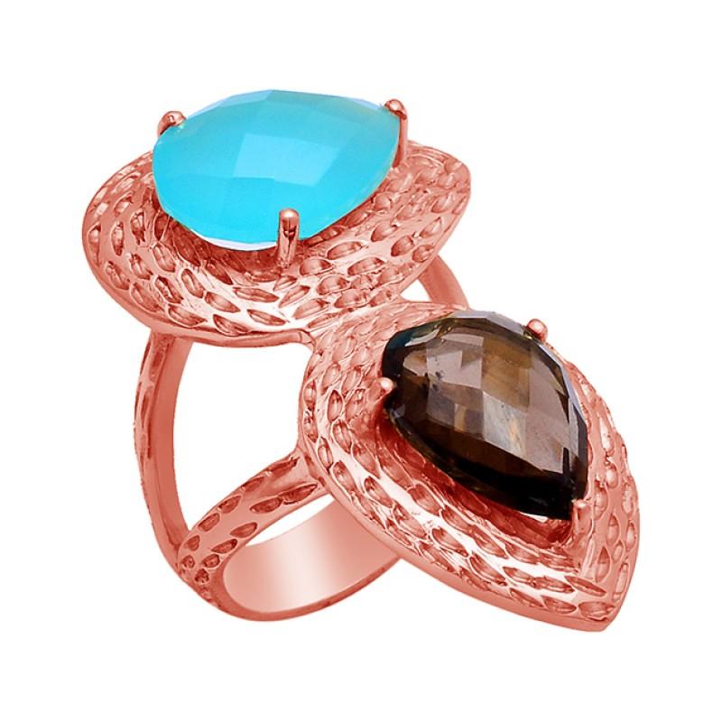 Aqua Chalcedony Smoky Quartz Gemstone 925 Sterling Silver Gold Plated Ring