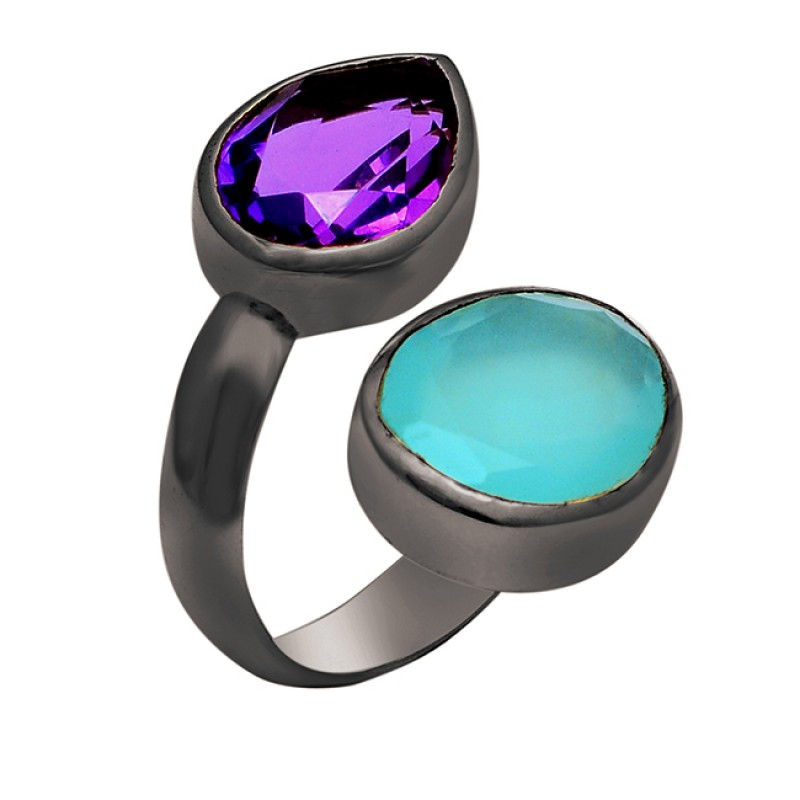 Amethyst Aqua Chalcedony Gemstone 925 Sterling Silver Gold Plated Ring