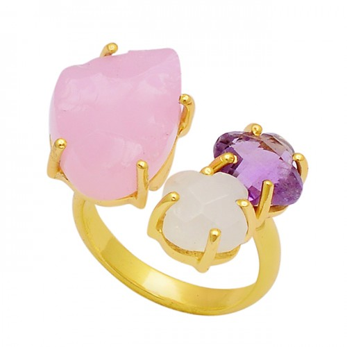 Chalcedony Moonstone Amethyst 925 Sterling Silver Gold Plated Ring