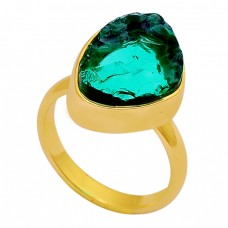 Green Apatite Rough Gemstone 925 Sterling Silver Gold Plated Ring