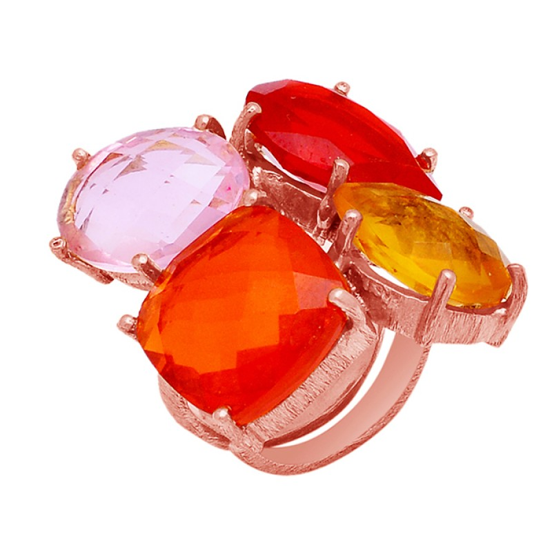 Citrine Red Pink Fanta Color Quartz Gemstone Prong Setting Gold Plated Ring