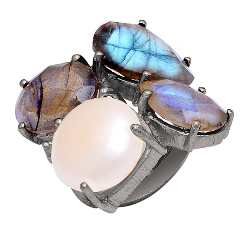 Labradorite Pear Gemstone 925 Sterling Silver Gold Plated Ring Jewelry