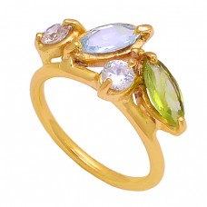 Peridot Blue Topaz Cz Gemstone 925 Sterling Silver Gold Plated Ring