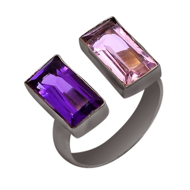Faceted Rectangle Shape Amethyst Gemstone 925 Silver Gold Plated Ring