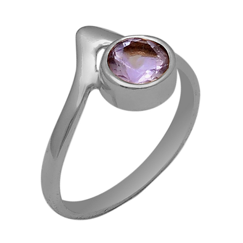 Faceted Round Shape Amethyst Gemstone 925 Silver Gold Plated Ring