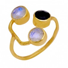 Black Onyx Rainbow Moonstone 925 Sterling Silver Gold Plated Band Ring