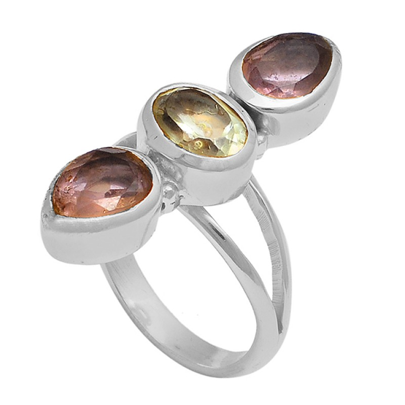 Oval Pear Shape Amethyst Gemstone 925 Sterling Silver Gold Plated Ring