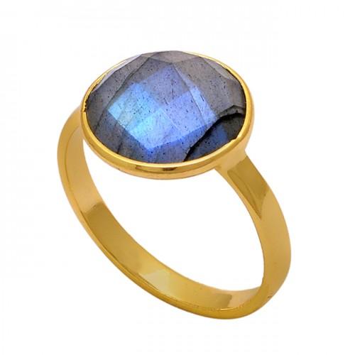 Round Shape Labradorite Gemstone 925 Sterling Silver Gold Plated Ring