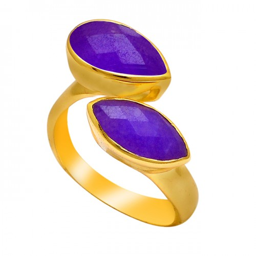 Pear Marquise Shape Amethyst Gemstone 925 Silver Gold Plated Ring