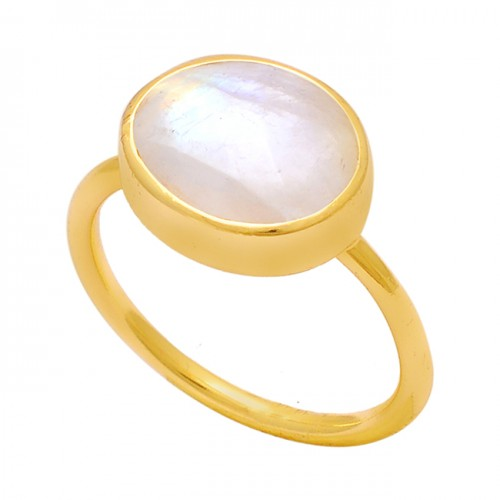 925 Sterling Silver Oval Shape Rainbow Moonstone Gold Plated Ring