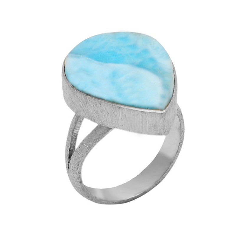 Blue Larimar Gemstone Cabochon Pear Shape 925 Sterling Silver Gold Plated Jewelry Ring