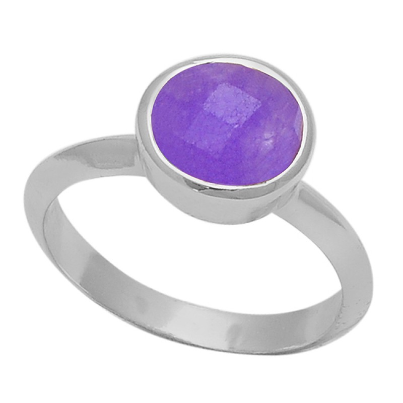 925 Sterling Silver Round Shape Amethyst Gemstone Gold Plated Ring