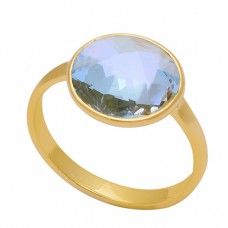 925 Sterling Silver Round Shape Blue Topaz Gemstone Gold Plated Ring
