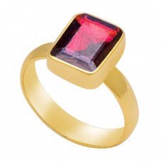 Octagon Shape Red Garnet Gemstone 925 Sterling Silver Gold Plated Ring