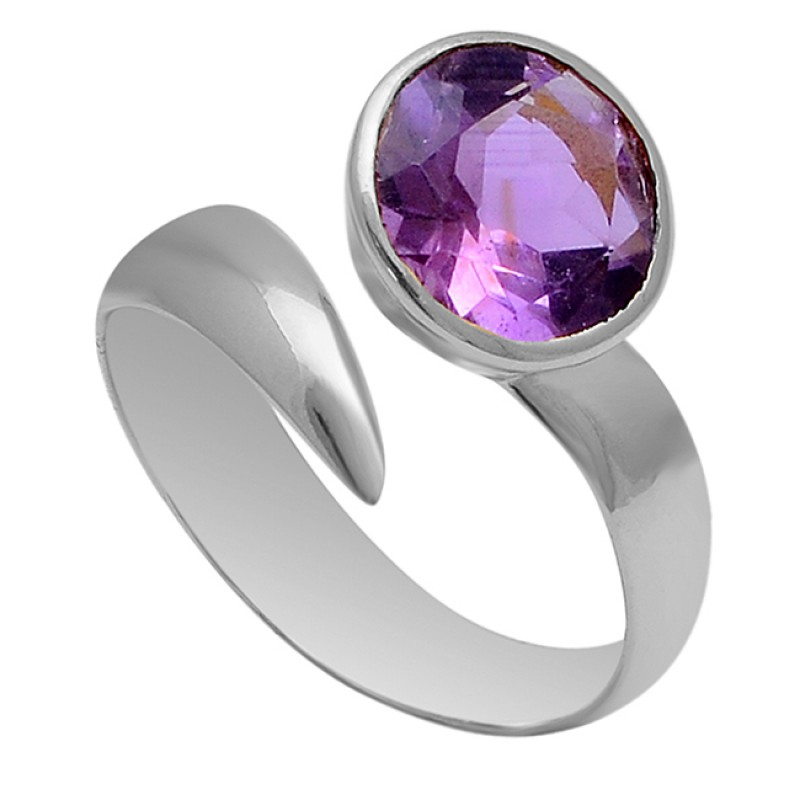 925 Sterling Silver Round Shape Amethyst Gemstone Gold Plated Band Ring