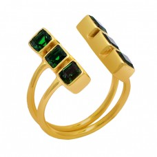 Square Shape Peridot Gemstone 925 Sterling Silver Gold Plated Ring Jewelry