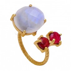 Rainbow Moonstone Ruby 925 Sterling Silver Gold Plated Ring Jewelry