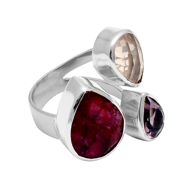 Ruby Rose Quartz Amethyst Gemstone 925 Sterling Silver Gold Plated Ring