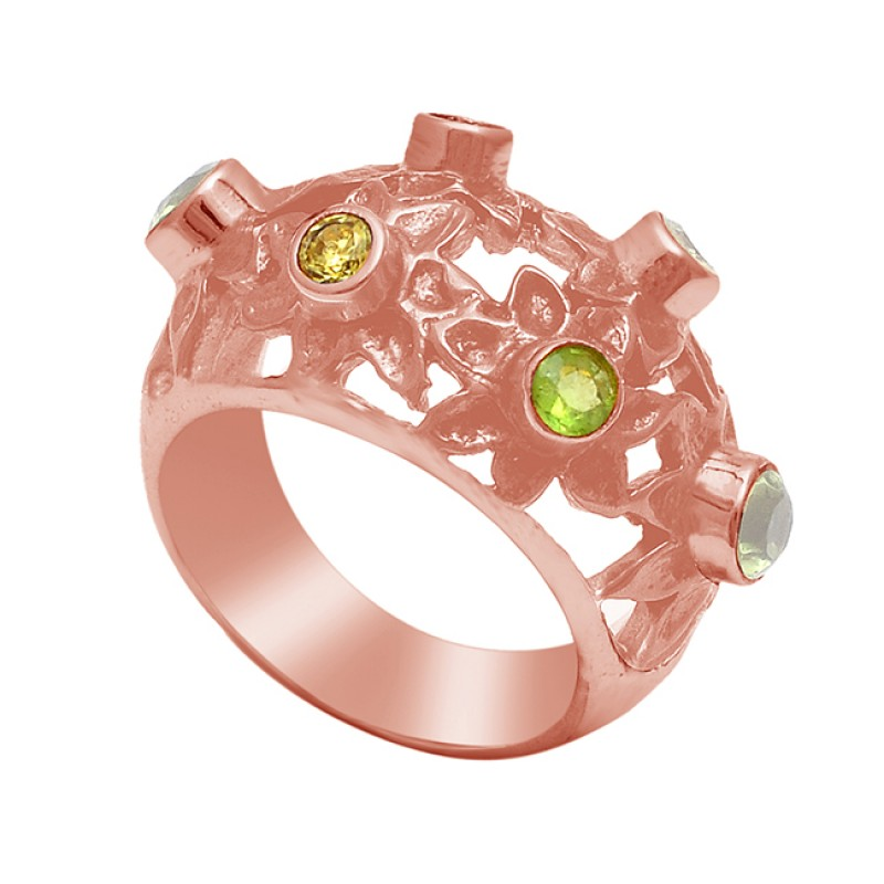 925 Sterling Silver Round Shape Peridot Gemstone Gold Plated Ring