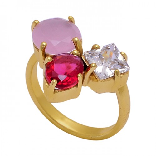 Prong Setting Chalcedony Quartz Cz Gemstone 925 Silver Gold Plated Ring
