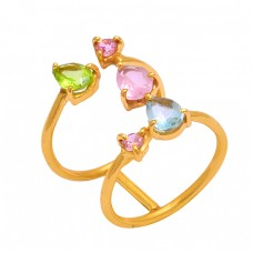 Peridot Topaz Pink Quartz Gemstone 925 Silver Gold Plated Ring Jewelry