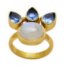 Tanzanite Rainbow Moonstone 925 Sterling Silver Gold Plated Ring Jewelry