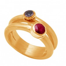 Amethyst Ruby Gemstone 925 Sterling Silver Gold Plated Ring Jewelry