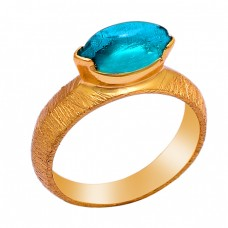 Marquise Shape Apatite Gemstone 925 Sterling Silver Gold Plated Ring
