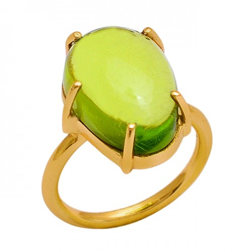 925 Sterling Silver Oval Shape Peridot Gemstone Gold Plated Ring