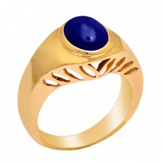 Oval Shape Lapis Lazuli Gemstone 925 Sterling Silver Gold Plated Ring